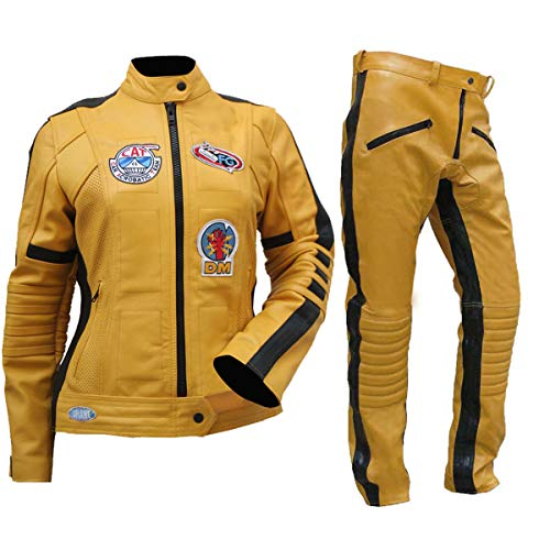 Fashion_First Damen Uma Thurman Kill Bill The Bride Biker-Kostüm aus Leder, Gelb Gr. X-Small, Yellow - Uma Kill Bill Kostüm