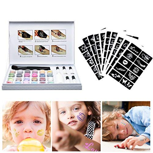 Herefun Glitter-Tattoo-Set, Temporäre Tattoos Make Up Glitzer Körper Schminkset Glitzer für Kinder Teenager Teenager Erwachsene, mit 24 Farben der Glitzer, 5 Flaschen Kleber, 120 Tattoo Schablonen