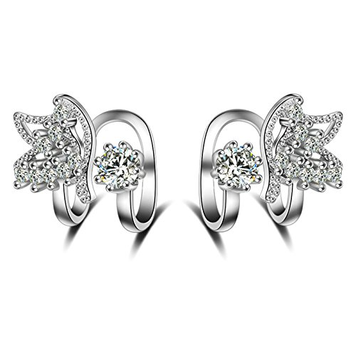 Epinki Damen 1 Paar Silber Schmetterling Ohrklemme Ohrringe 925 Silber Fake Piercing Ear Cuff Ohr Klammern Fake Piercing Fake Loch Piercing