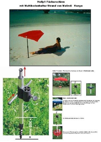 Parapluie-bEACH -vertrieb holly ® produits sTABIELO ®-fabriqué en allemagne-wURMI-mULTIBODENHALTER en aluminium et dure en fibre de verre-acier inoxydable-argile pour gazon-plage de sols sable/gravier pour parasols d'un système de fixation universelle pour jusqu'à env. 33 mm-holly-sunshade ®