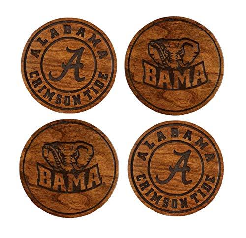 University of Alabama Untersetzer aus Holz, karminrot, hergestellt in den USA Crimson University