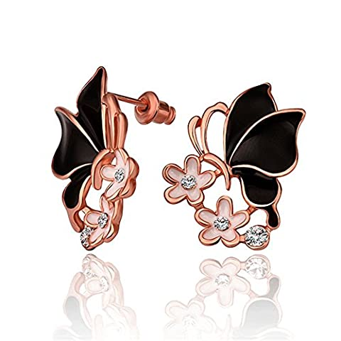 nykkola Fashion Swarovski Element Cristal 18 K plaqué or rose boucles d'oreilles clous papillon fleur