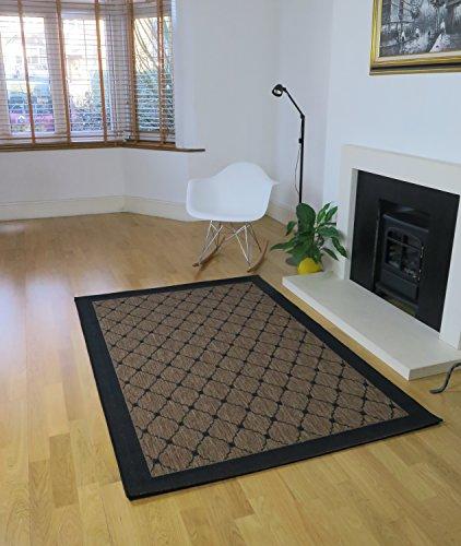 Aspecto 120 x 170 cm polipropileno Togo rombo cadorabo lindaba con tejido plano interior/alfombra al aire libre, color marrón/negro