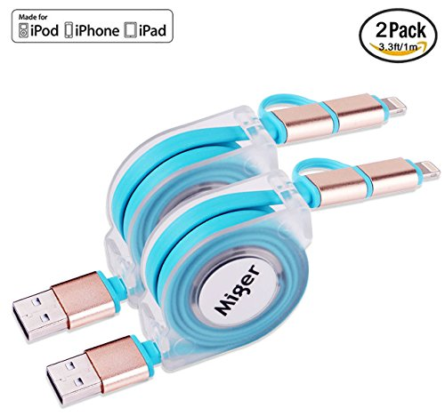 (2) 3,3ft 2in1ausziehbar Universal Android & iOS Lightning auf USB Ladekabel verwicklungsfreies Ladegerät für iPhone 6, 6S, 6Plus, 5S, iPad, iPod, Samsung, HTC, Nexus, Nokia, Sony und mehr. - Ss-roll-pin