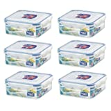 6 x Lock & Lock 870ml Square Food Container HPL823