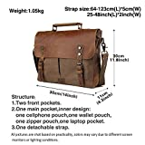 TIDING Mens Vintage Canvas Cotton Genuine Leather Leisure Casual School Outdoor Travel Satchel Hobo Messenger Shoulder Bag Coffee