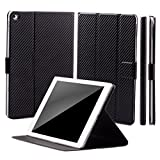 iCues Apple iPad Air 2 Manzano Bag | 360 Funzione del Basamento Carbon Black | Premium Stand Luce supplementare in Pelle Molto Sottile - Libro incernierato Custodia Custodia Cover Case Tasca Borsa