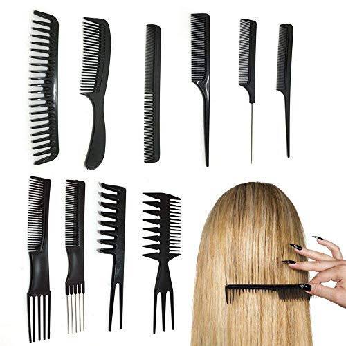 10 Stück Friseur Haar Kamm Set Haarschneide kämme Hair Styling Kämme Friseur Zubehör Geräte, Hairdressing Stylists Barbers Schwarz Stielkamm Zubehör Geräte Set