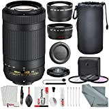 Nikon AF-P DX NIKKOR 70-300mm F/4.5-6.3G ED VR Lens W/Deluxe Bundle 58mm Telephoto & Wide-Angle Lens, 3pc. Filter Kit + Lens Pouch, And Xpix Lens Handling Accessories
