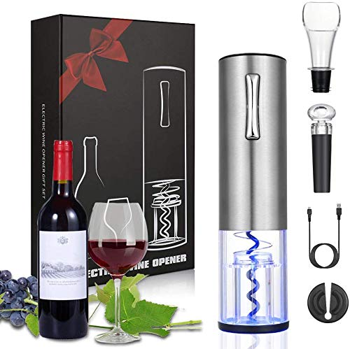Anpro Sacacorchos Electrico Recargable para Botellas,Sacacorchos Profesional Automático de Vino,Abridor de Botellas Electrico,Kit Regalo de Vinos para Navidad
