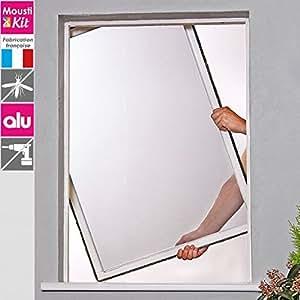 MOUSTIKIT CONFORT - Moustiquaire H 1m X L 1m Cadre Fixe Alu Blanc