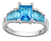 Bigood Fashion Blue Square Crystal CZ Women Ring in Plated 925 Sterling Silver 7
