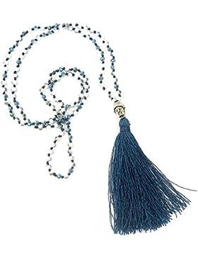 Halskette Ibiza Hippie-Stil Quaste Buddha Anhänger Blau