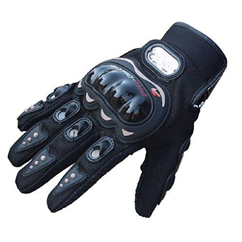 Pro-Biker, guanti corti sportivi in pelle, da bici e da moto, guanti da corsa, Black, M