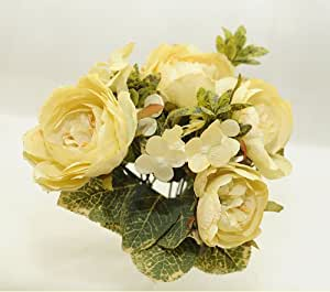 Bush Di Rose Ibride Ed Ortensie Da 27 Cm (Giallo)