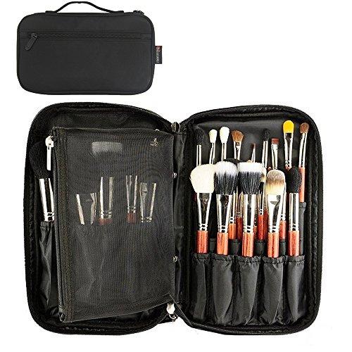 maquillage pinceaux sac professionnel organisateur cosmétique beauté artiste stockage sac à main pochette avec sangle de ceinture (noir)
