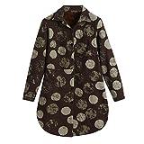 KUDICO Damen Jacke Parka Mantel Vintage Langarm warme Baumwolle Leinen Winter Flanellfutter Outwear Cardigans Übergröße(Braun, EU-44/CN-3XL)