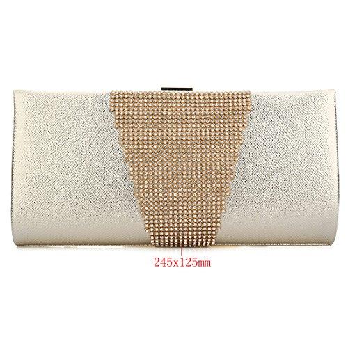 YYW Glitter Clutch Bag, Poschette giorno donna Silver