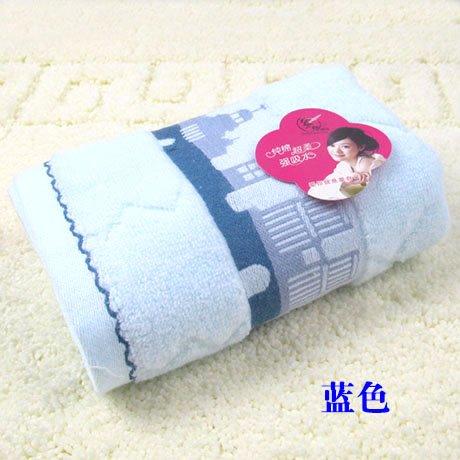 WEIAIXX Superweiche Feine Bambus Faser Handtuch Waschlappen Super Saugfähig Trockenes Haar Handtuch Drei Farbe Wählen Sie Separate Verpackung Geschenk Box Blauer Baumwolle 34X75Cm (Leben Neues 150g)