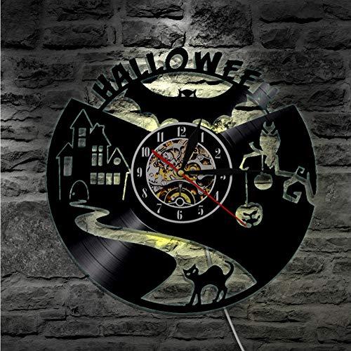 Guokee 1 Stück Halloween Schallplatte Wanduhr Home Decor Wanduhr Schwarze Katze Silhouette Freisteller Lp Uhr Moderne Wandkunst