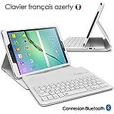 Seluxion - Etui de Protection Blanc avec Clavier Azerty Connexion Bluetooth Pour Tablette Samsung Galaxy Tab S2 9.7 Pouces [Modèles Samsung Galaxy Tab S2 9.7' SM-T810 / SM-T815. Dimensions 237.3 x 169 x 5.6 mm]