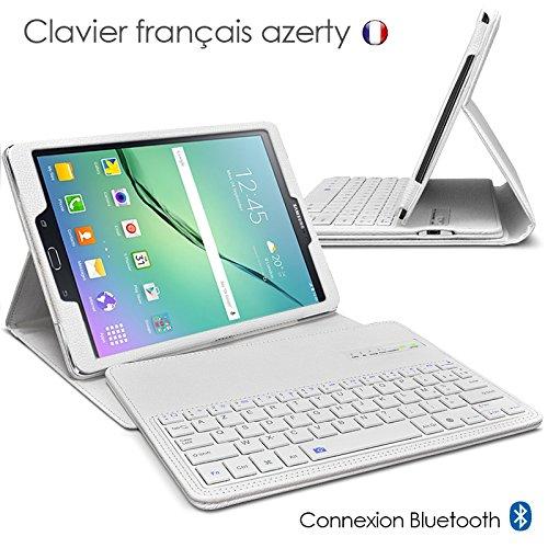 """Seluxion - Etui de Protection Blanc avec Clavier Azerty Connexion Bluetooth Pour Tablette Samsung Galaxy Tab S2 9.7 Pouces [Modèles Samsung Galaxy Tab S2 9.7"""" SM-T810 / SM-T815. Dimensions 237.3 x 169 x 5.6 mm]"""