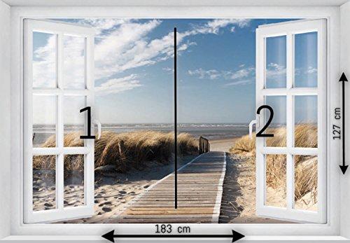 FOTOTAPETE ,,Beach Window 2T1′ 127cm x 183cm Fenster Ausblick Meer Strand Dünen Ozean ocean way Tapete inklusiv Kleister - 4