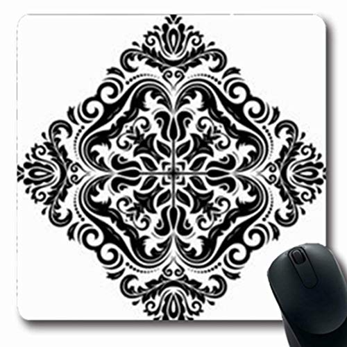 Mousepads Retro Oriental Pattern Damask Arabesque Floral Abstract Leafs Graphic Fine Black White Colors Oblong Shape 7.9 x 9.5 Inches Oblong Gaming Mouse Pad Non-Slip Mouse Mat