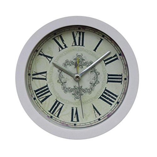 Zarupeng Einfacher Wecker, Nostalgie Glocke Tischuhren Creative Vintage Elektronischer Wecker Analog Quarzwecker, Schlummerfunktion, Kein Ticken (12 x 12 cm, Weiß)