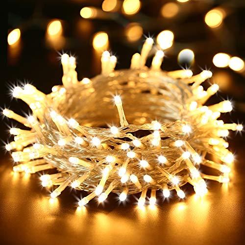 Qedertek luci natalizie da esterno con batteria (non incluso), luci stringa 10m 100 led, luci albero di natale con filo bianco, luce bianca calda per addobbi natalizie per interno ed esterno