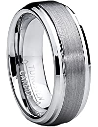 Ultimate Metals Co. 7MM High Polish/Matte Finish Men's Tungsten Ring Wedding Band