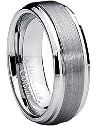 Ultimate Metals® Alianza de Boda Tungsteno Para Hombre, Banda Anillo Satinado y Borde Biselado Pulido 7mm
