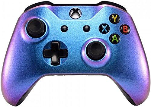 eXtremeRate Xbox One S X Schutzhülle Obere Case Hülle Cover Oberschale Skin Housing Kit Schale Gehäuse Shell für Xbox One S/Xbox One X Controller(ChamäleonLila Blau)