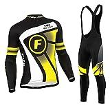 FDX - Set ciclismo termico per l'inverno, da uomo, con maglia e...