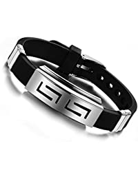 Felvy Stainless Steel And Silicon Black Silver Wristband Cuff & Kadaa Bracelet With Adjustable Strap For Men And Women