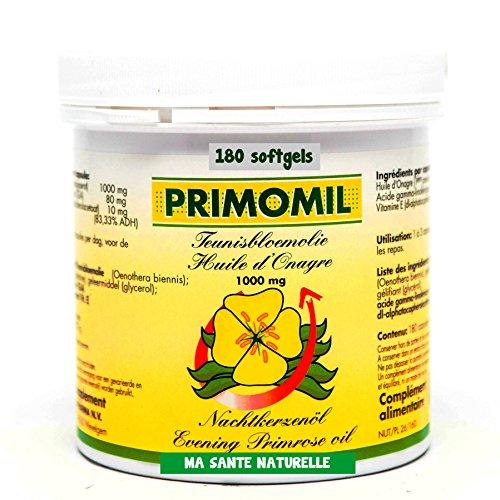 PRIMOMIL 1000 mg (oméga-6) - Huile d'onagre (1ière pression à froid) + Vitamine E (d-alpha) - 180 sotfgels/capsules molles