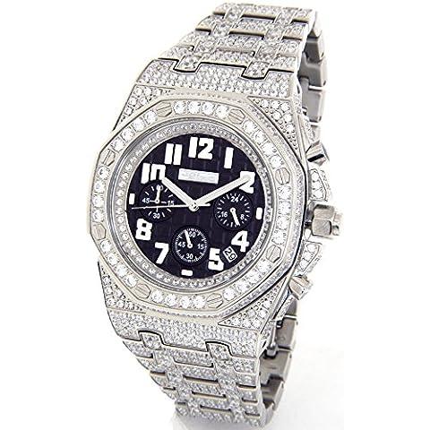 JoJino 28.00ct Diamante simulado reloj para hombre Ap de plumón de Busto de plata tono de la piel Case Iced Out de metal de banda