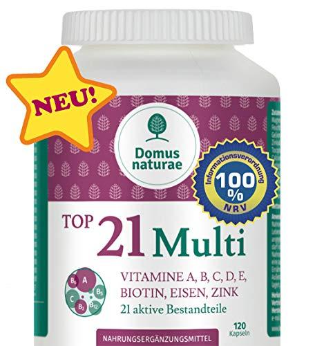 TOP21 Multi Vitamine A, B, C, D, E, BIOTIN, EISEN, ZINK, 120 Kapseln - Multi Vitamin-120 Kapseln