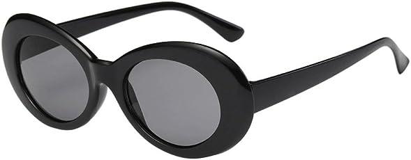 OULII Fahsion Oval Sunglasses for Men Women Cool Eyewear Thick Round Frame (Black Frame Black Grey Lens)