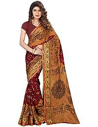 Shree Sondarya Bandhani Women's Art Silk Saree With Blouse Piece (Ssb-S3033-01_Maroon-Mustard)