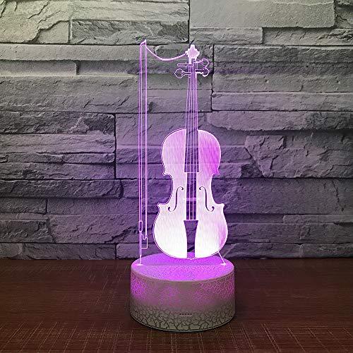 Werewtr 3D Night Lightvioline 3D Led Tisch Schreibtischlampe Usb 7 Farbwechsel Musikinstrumente Nachtlicht Kinder Schlaf Beleuchtung Geschenk Hause