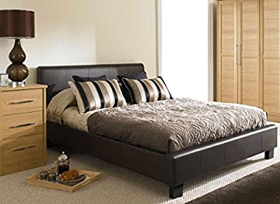 NEW 4ft 6 BLACK MODERN FAUX DOUBLE LEATHER BED FRAME - inexpensive UK light shop.