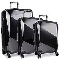 Kono Luggage Suitcase Trolley Case Hard Shell 4 Wheel Spinner Diamond Shape Business Trip Holiday Set Combinations (Black)
