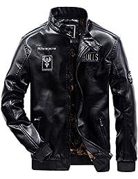 Herren Winddichte Pu Leder Winterjacke Warm Bekleidung Motorradjacke Pu  Lederjacke Bikerjacke Outerwear… abc629cf14