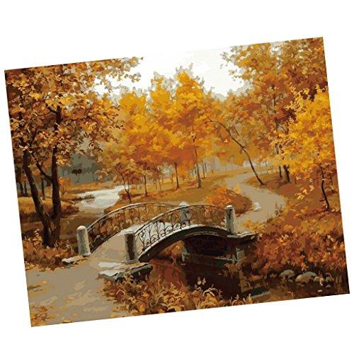 MagiDeal Rahmenloses DIY Malerei , Malen nach Zahlen , Leinwand Wand Bild , Herbst Landschaft Landschaft Leinwand Malerei