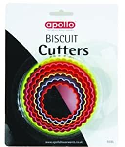 Apollo Colourful Plastic Crinkly Pastry Biscuit Cutters Set