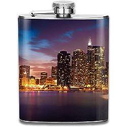 Coole New Yorker Nachtskyline Windy City Retro Tragbarer Edelstahl Auslaufsicher Alkohol Whisky Schnaps Wein Topf Flachmann