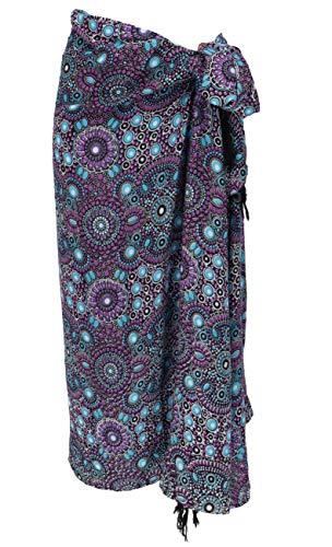 Sarong Bekleidung Pareos (Guru-Shop Bali Sarong, Wandtuch, Wickelrock, Sarongkleid, Herren/Damen, Lila/blau, Synthetisch, Size:One Size, 160x100 cm, Sarongs, Strandtücher Alternative Bekleidung)