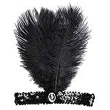 Charleston Stirnband Haarband 50er Jahre Schwarz mit Feder & Pailletten Moulin