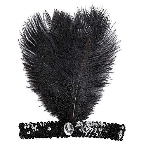 Charleston Stirnband Haarband 50er Jahre Schwarz mit Feder & Pailletten ()